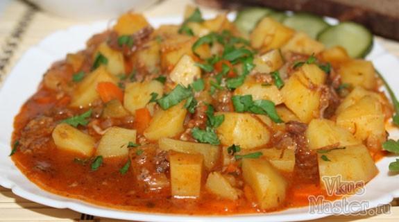 мультиварка рецепты тушеная картошка с тушенкой
